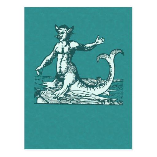Dagon or Half Man Half Fish Creature Post Card