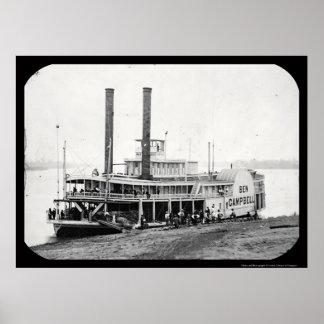 Daguerreotype 1852 de Ben Campbell del barco de va Póster