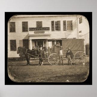 Daguerreotype 1853 del caballo y del carro poster