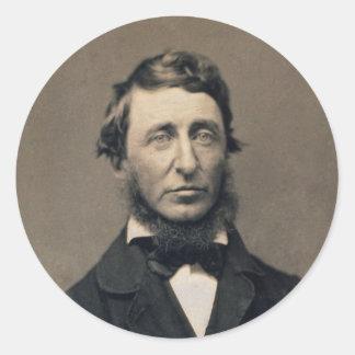 Daguerreotype de Maxham del retrato de Henry David Pegatina Redonda