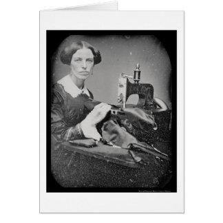 Daguerreotype de trabajo 1853 de la costurera tarjeta de felicitación