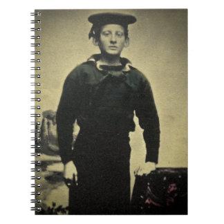 Daguerreotype del marinero de la guerra civil del libros de apuntes