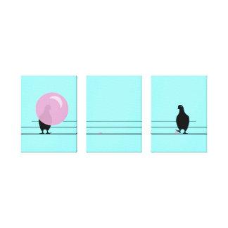 DAGUM BIRD Funny Bubble Gum Birds Canvas Print