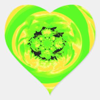 Dahlia Abstract, Green, Yellow Heart Sticker