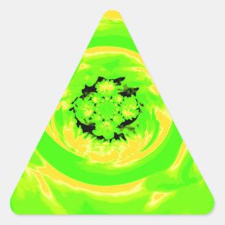 Dahlia Abstract, Green, Yellow Triangle Sticker
