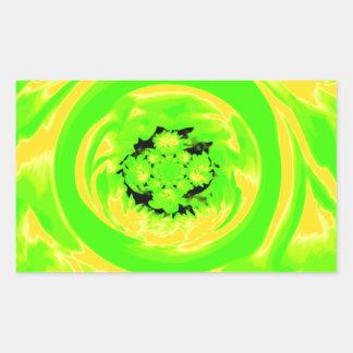 Dahlia Abstract, Green, Yellow Rectangular Sticker