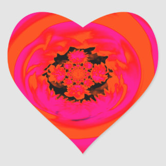 Dahlia Abstract, Orange, Pink Heart Sticker