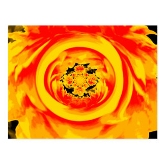 Dahlia Abstract, Yellow, Orange, Red Postcard