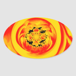 Dahlia Abstract, Yellow, Orange, Red Oval Sticker