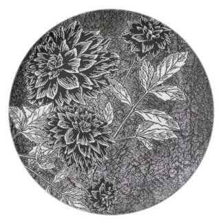 Dahlia Black Faux Leather Dinner Plate
