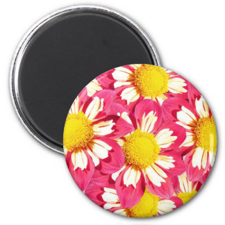 Dahlia bouquet - coral and white with yellow 2 inch round magnet