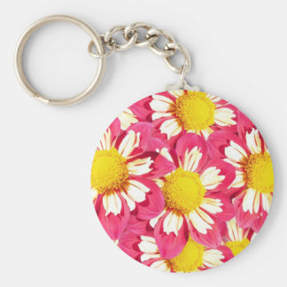Dahlia bouquet - coral and white with yellow keychain