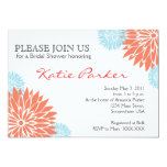 Dahlia Coral and Light blue Flower 5x7 Paper Invitation Card