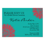 Dahlia Coral and teal Flower Invitations