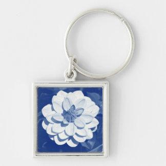 Dahlia - Digital Cyanotype Silver-Colored Square Keychain