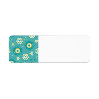 Dahlia Floral Patterned Blue and Cream Label