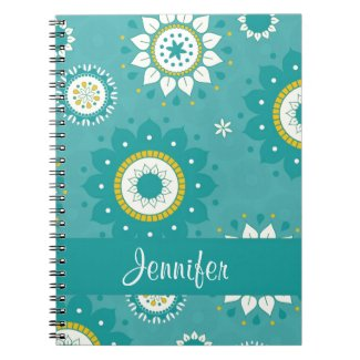 Dahlia Floral Patterned Blue and Cream Spiral Notebook