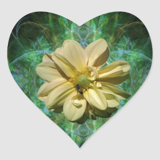 Dahlia flower and meaning heart sticker