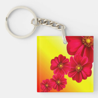 Dahlia Flower Collage Single-Sided Square Acrylic Keychain