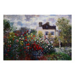 Dahlia Flower Garden by Monet Poster