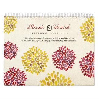 Dahlia Flowers Custom Wedding Photo Guest Book Calendar
