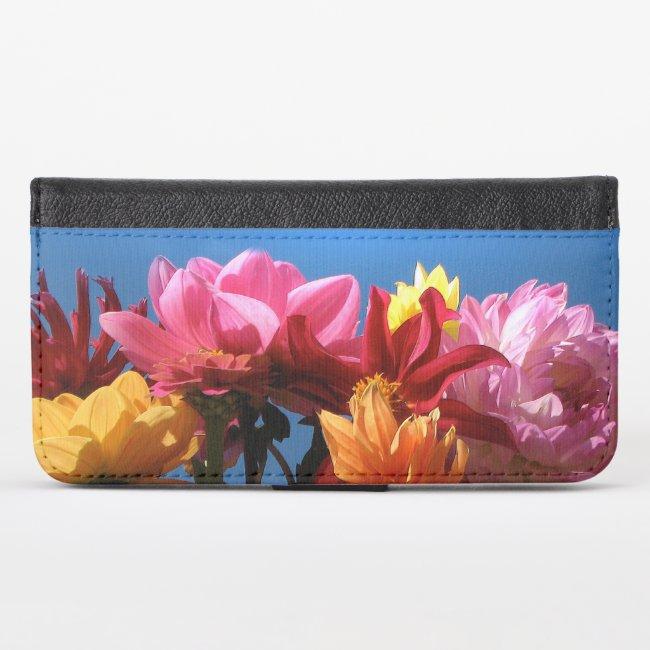 Dahlia Flowers Floral iPhone X Wallet Case