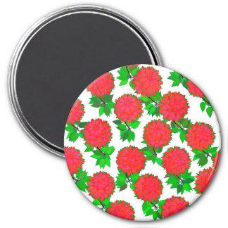 Dahlia flowers in deep red refrigerator magnet