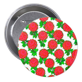 Dahlia flowers in deep red pinback button
