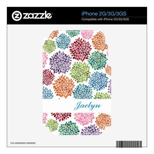 Dahlia Flowers Pattern Custom Name Iphone 3 Skin
