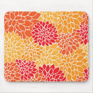 Dahlia Flowers, Petals, Blossoms - Orange Red Mouse Pad