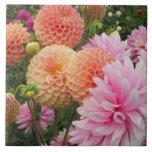 Dahlia Garden Floral Tile