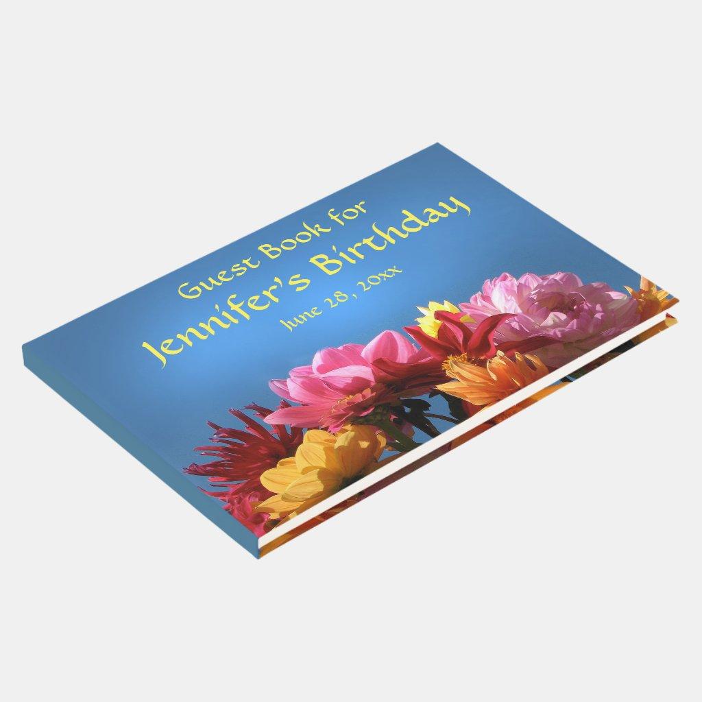 Dahlia Garden Flowers Birthday Party Guest Book