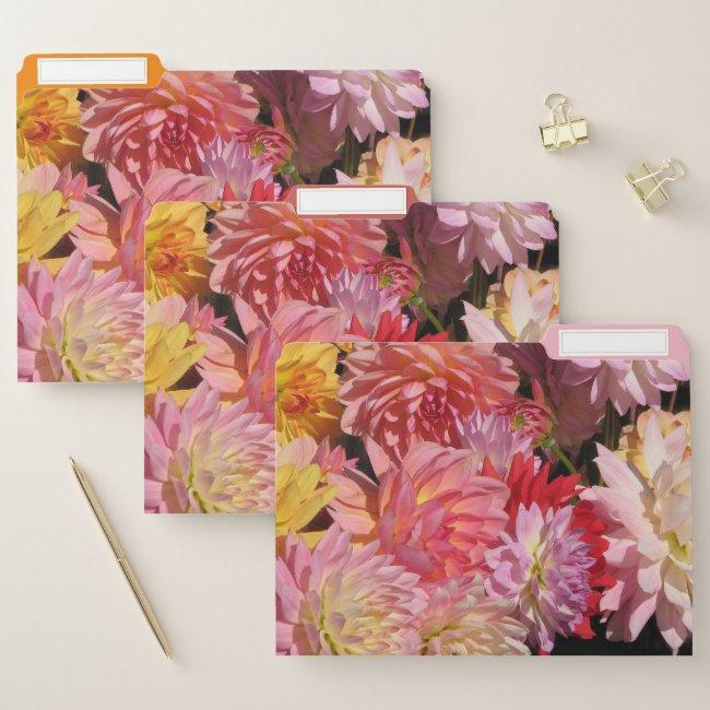 Dahlia Garden Flowers Floral File Folder Set