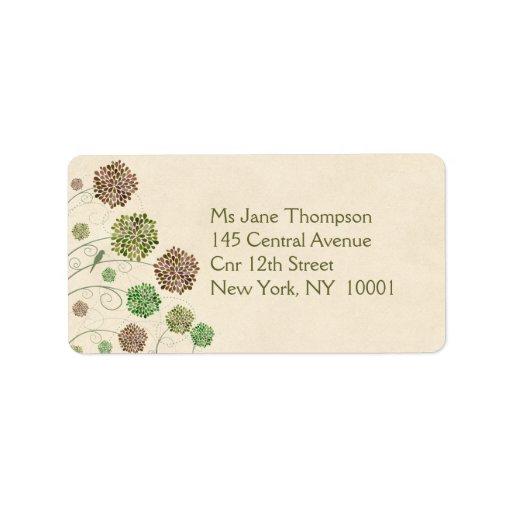 Dahlia Garden Wedding Address Name Labels
