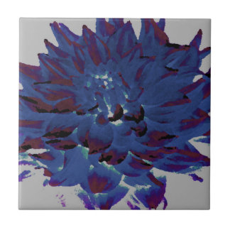 Dahlia - Honeymoon  - midnight blue - oil painting Tiles
