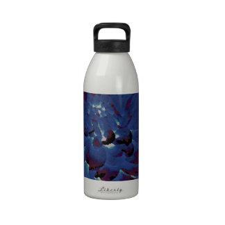 Dahlia - Honeymoon  - midnight blue - oil painting Reusable Water Bottles