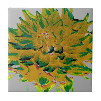 Dahlia - Honeymoon  - musturd yellow with green Ceramic Tiles