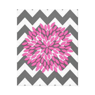 Dahlia on Chevrons in Pink and Gray Canvas Canvas Print