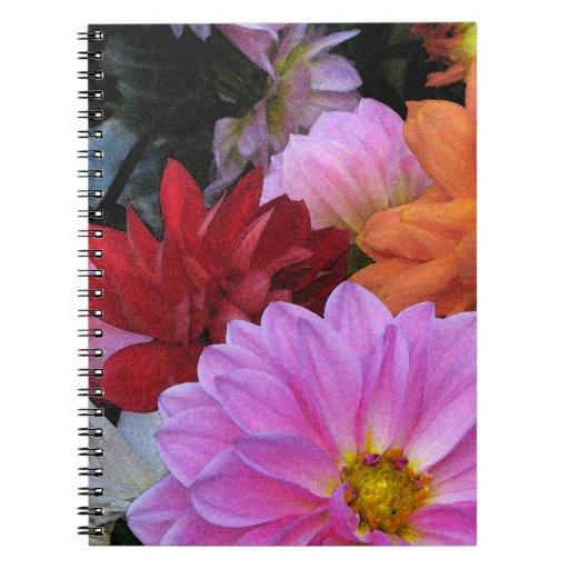 Dahlia Petals Spiral Note Book