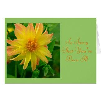 "DAHLIA/SORRY YOU'RE ILL/YELLOW AND ORANGE DAHLIA"" CARD"