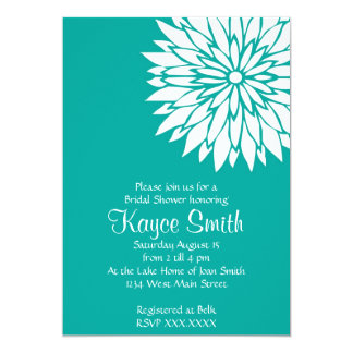 Dahlia Teal Flower Invitation
