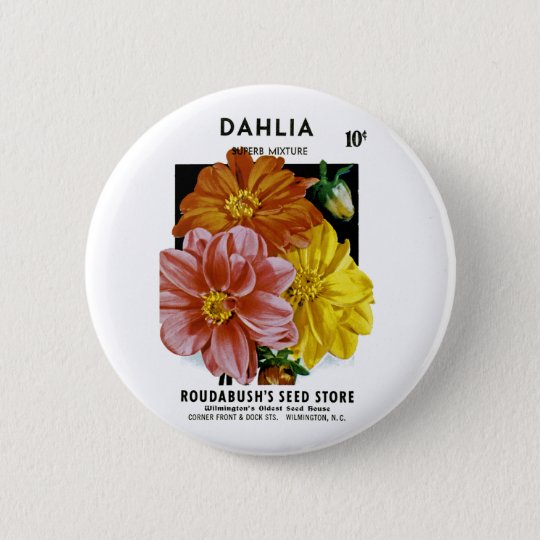 Dahlia Vintage Seed Packet Button
