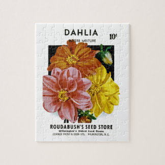 Dahlia Vintage Seed Packet Jigsaw Puzzle