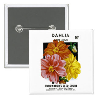 Dahlia Vintage Seed Packet Pinback Button