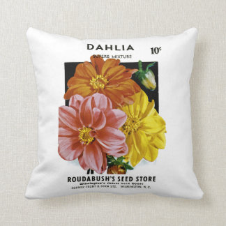Dahlia Vintage Seed Packet Throw Pillow