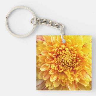 dahlia with yellow center keychain