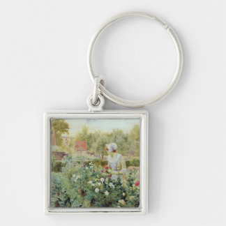 Dahlias, 1896 Silver-Colored square keychain