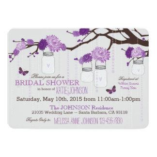 "Dahlias Branch Mason Jar Rustic Bridal Shower 5"" X 7"" Invitation Card"