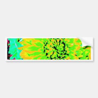 dahlias, bright yellow, teal, green ,blue car bumper sticker