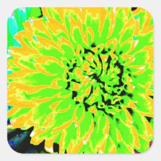 dahlias, bright yellow, teal, green ,blue square sticker